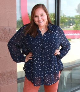 Full Figured Fashionista Star Button-Down