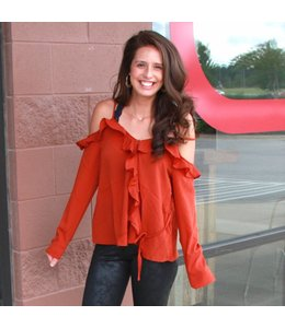 August Apparel Woven Cold Shoulder Top