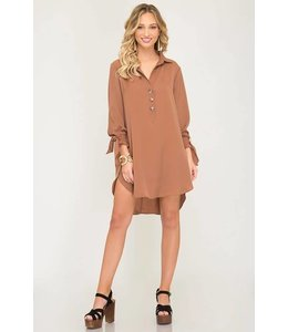 A Beauty Woven Long Sleeve Dress