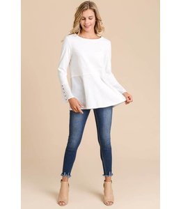 Doe & Rae Button Bell Sleeve Top