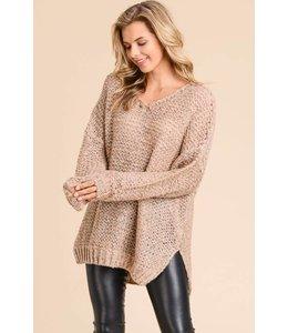 Doe & Rae Oversized V Neck Sweater