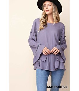 Trimmed Ruffle Sleeve Top
