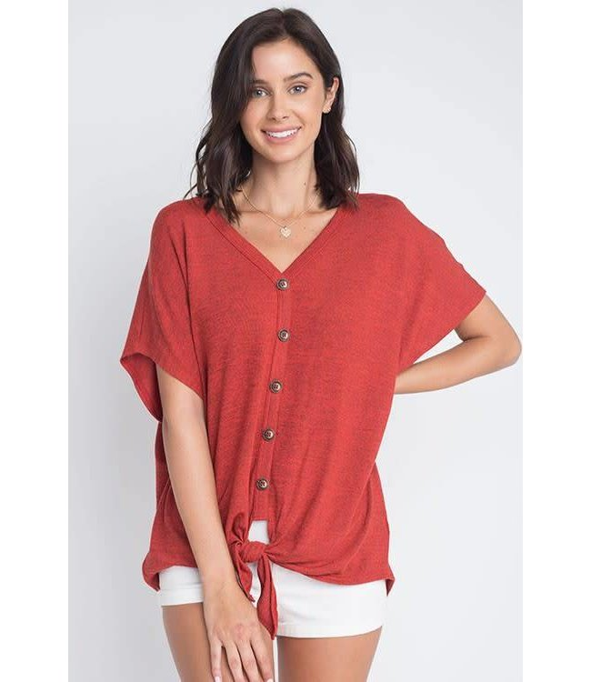 Dreamers Tie Front Button Top