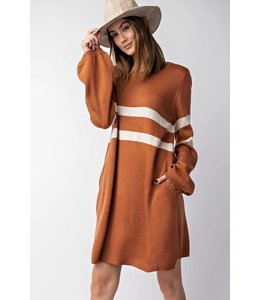 Easel Bubble Sleeve Sweater Dress