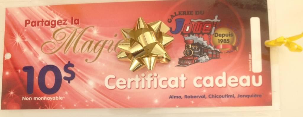 Certificat-cadeau de 10$