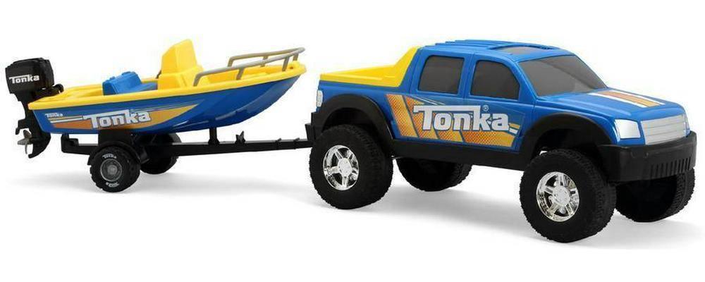 Tonka 4x4 hors-route avec remorque et bateau à moteur