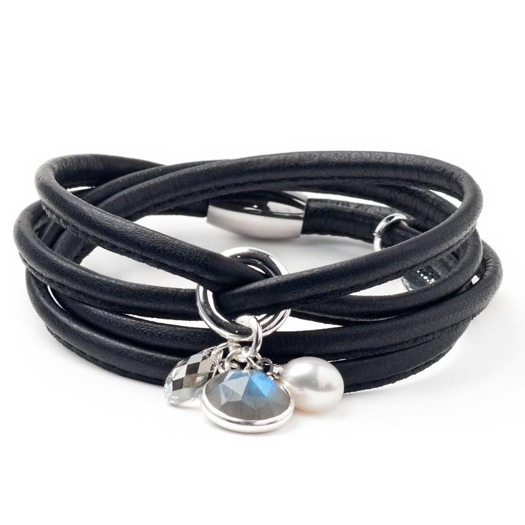 Luxetto ALLIE - Black Leather Bracelet & Swarovski Crystal