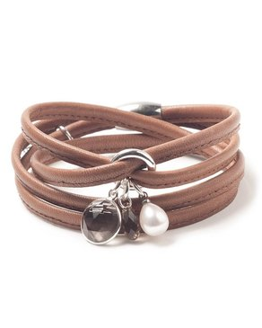 Luxetto ALLIE - Brown Leather Bracelet & Swarovski Crystal