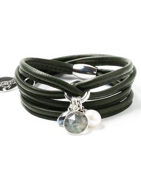 Luxetto ALLIE - Bracelet de Cuir Kaki et Cristal Swarovski