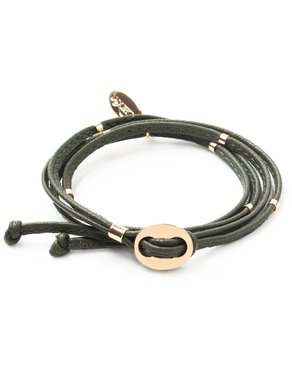 Luxetto NARRITA - Kaki Leather and 14ct Gold Bracelet