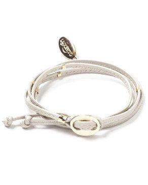 Luxetto NARRITA - Bracelet de Cuir Blanc Cassé et Or 14K