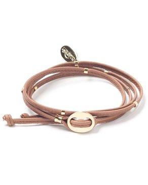 Luxetto NARRITA - Bracelet de Cuir Brun et Or 14K