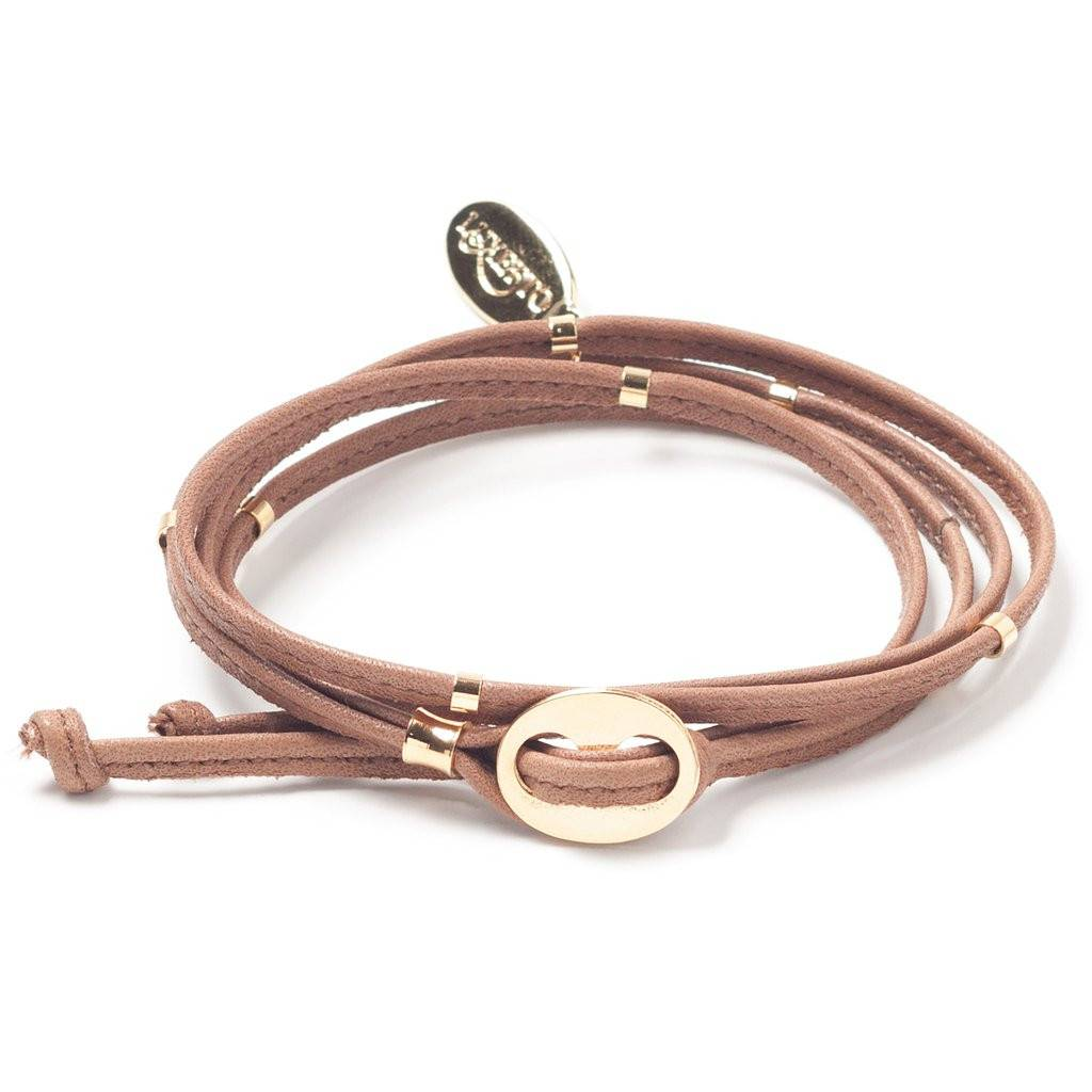 Luxetto NARRITA - Brown Leather and 14ct Gold Bracelet