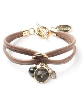 Luxetto PETIT ALLIE - Bracelet en Cuir Brun et Cristal Swarovski