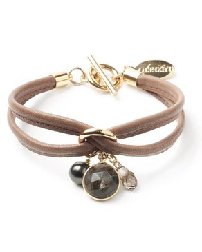 Luxetto SMALL ALLIE - Brown Leather Bracelet & Swarovski Crystal