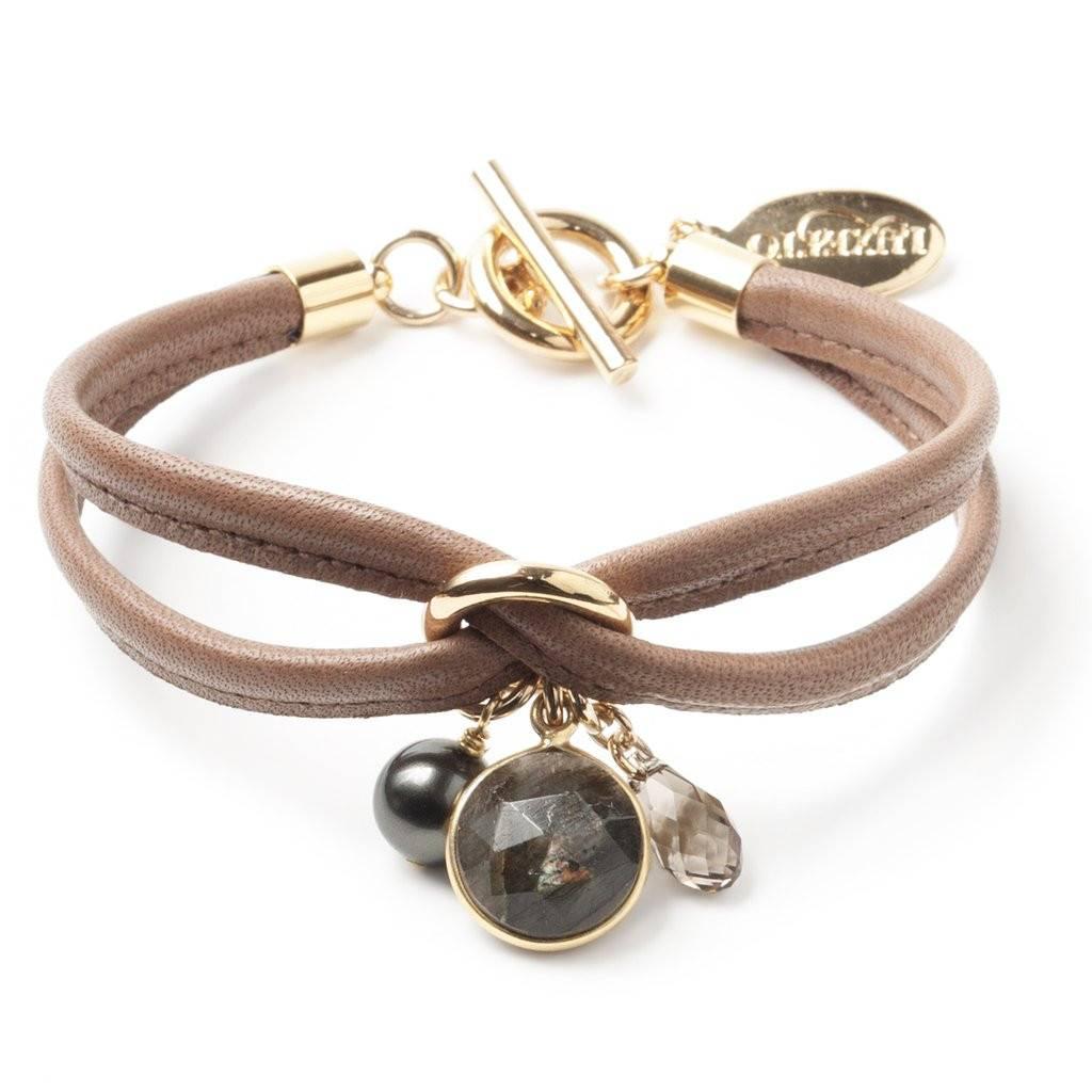 Luxetto SMALL ALLIE - Brown Leather Bracelet & Swarovski Crystal