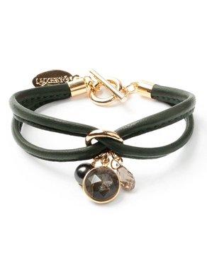 Luxetto PETIT ALLIE - Bracelet en Cuir Kaki et Cristal Swarovski