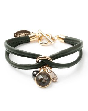Luxetto SMALL ALLIE - Kaki Leather Bracelet & Swarovski Crystal