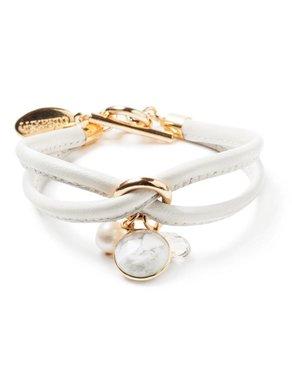 Luxetto PETIT ALLIE - Bracelet en Cuir Blanc Cassé et Cristal Swarovski