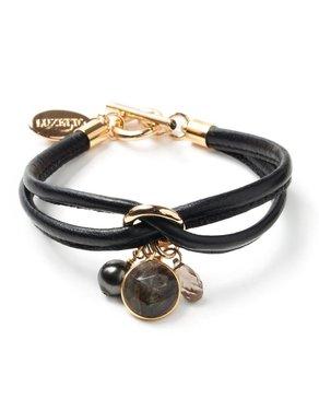 Luxetto PETIT ALLIE - Bracelet en Cuir Noir et Cristal Swarovski