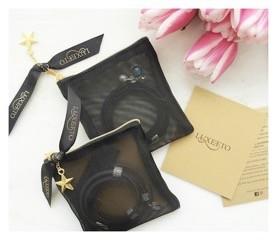 Luxetto ALLIE - Bracelet de Cuir Noir et Cristal Swarovski