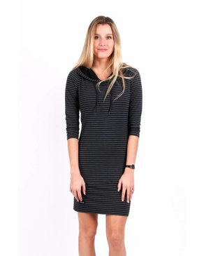 Louve Design Hoodie Dress - Black Striped
