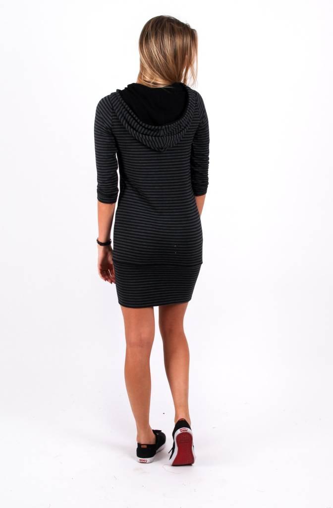 Louve Design Hoodie Dress - Black Striped