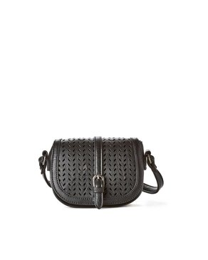 jeane & jax Perforated Mini Crossbody Bag (Black)