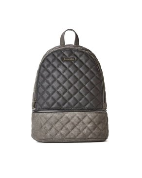 jeane & jax Quilted Backpack (Black/Charcoal)