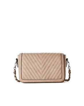 jeane & jax Chevron Quilted Crossbody Bag (Latte)