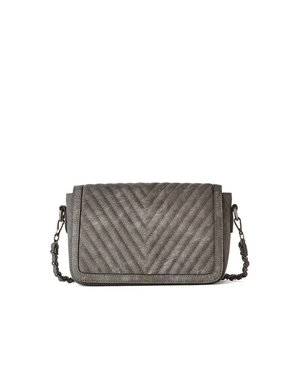 jeane & jax Chevron Quilted Crossbody Bag (Charcoal)