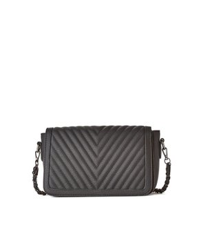 jeane & jax Chevron Quilted Crossbody Bag (Black)