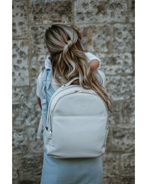 Design Lambert CHARLOTTE - Grey Faux Leather Backpack for Women