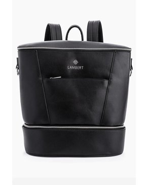 Design Lambert MIA - Black Faux Leather Diaper Backpack for Moms PRE-ORDER