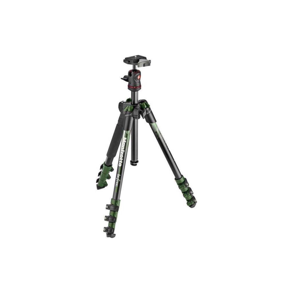 "Manfrotto Manfrotto BeFree Color 4-Section Aluminum Traveler Tripod with Ball Head, 9lbs Capacity, 57"" Max Height, Green"