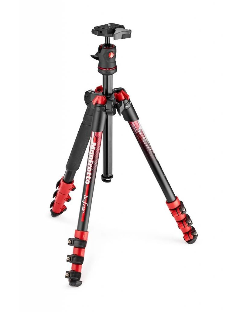 """Manfrotto Manfrotto BeFree Color 4-Section Aluminum Traveler Tripod with Ball Head, 9lbs Capacity, 57"""" Max Height, Red"""