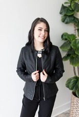 Heart Faux Leather Jacket