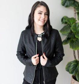 Heart Faux Leather Jacket
