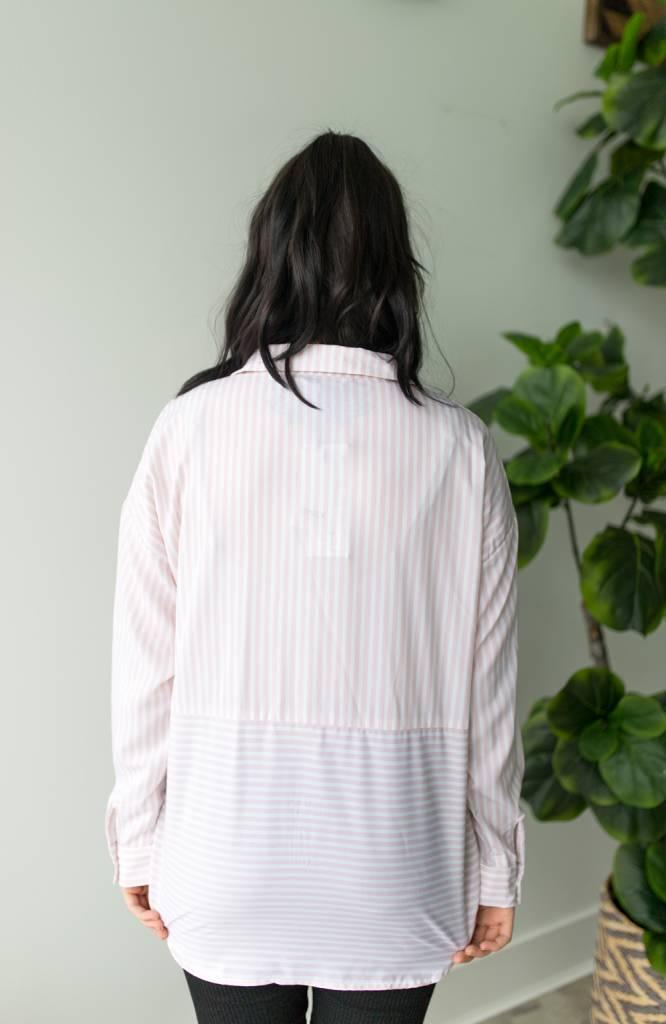 Elena L/S Striped Oversized Shirt Wvn