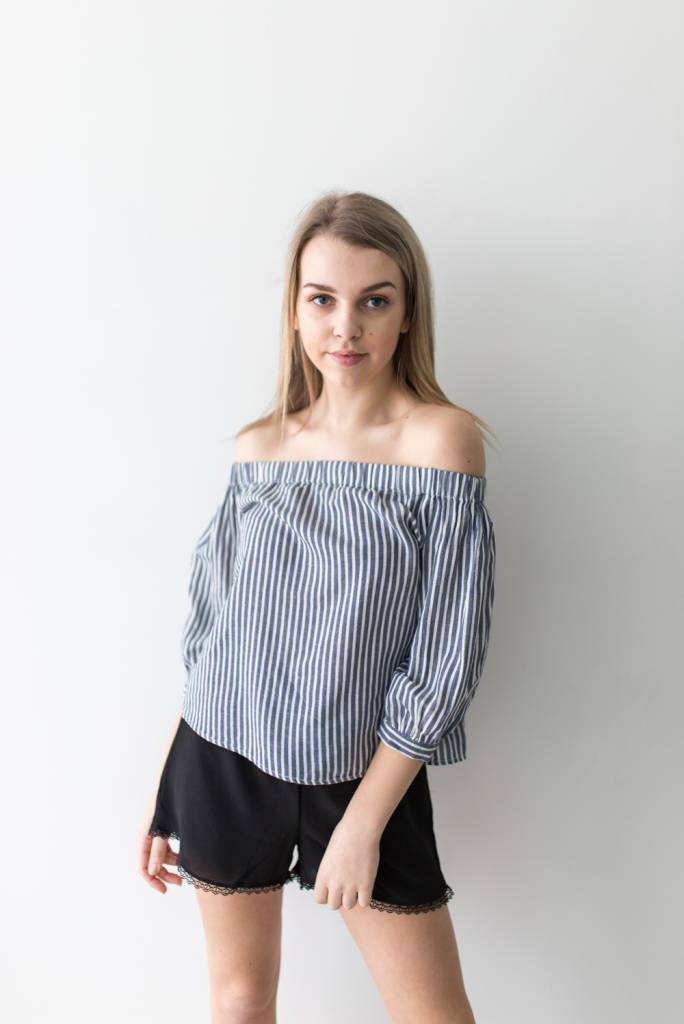 Janice Off Shoulder Stripe Dnm Top