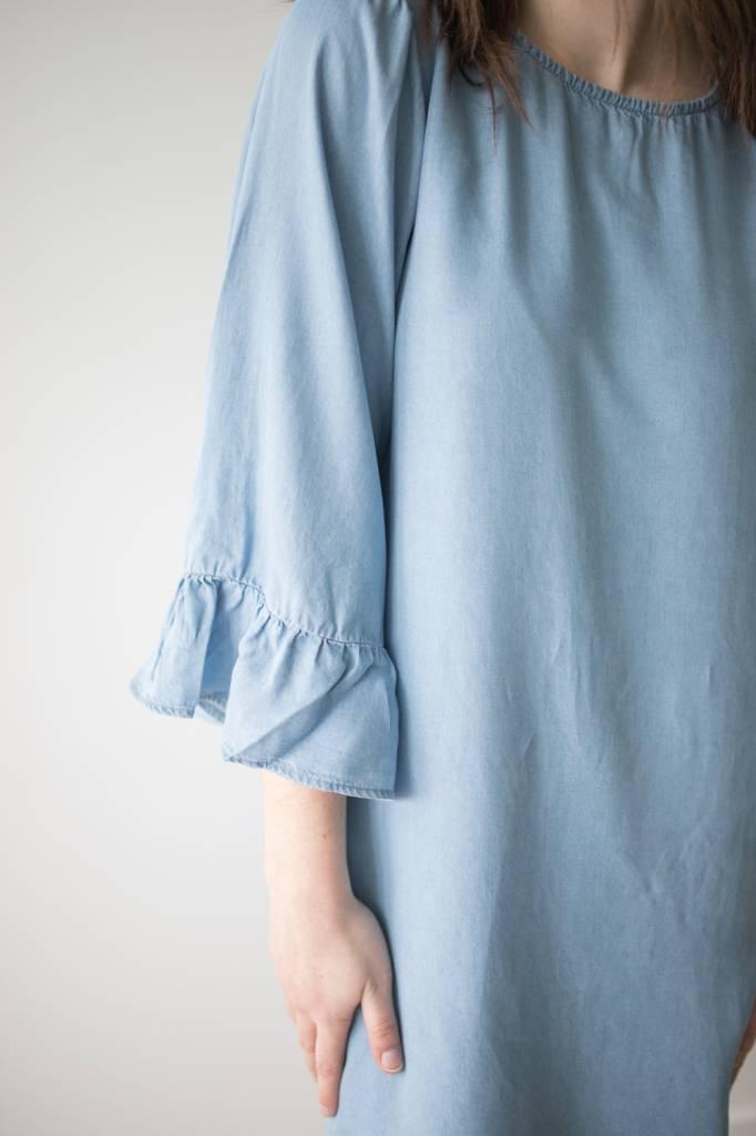 Haley Big Sleeve Frill Dnm Dress