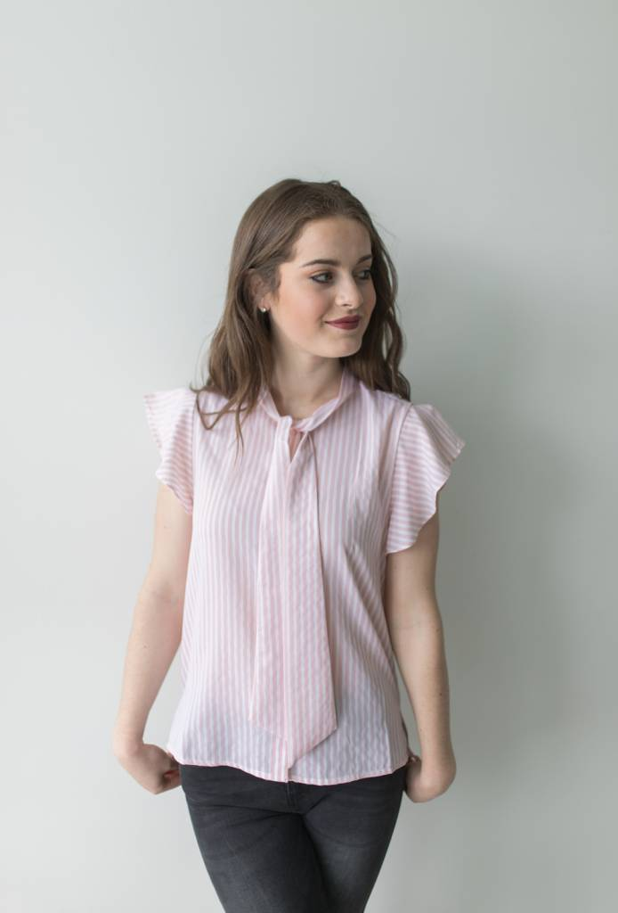 Elena S/S Striped Bow Shirt