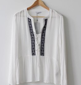 Marika LS Lace Up Blouse