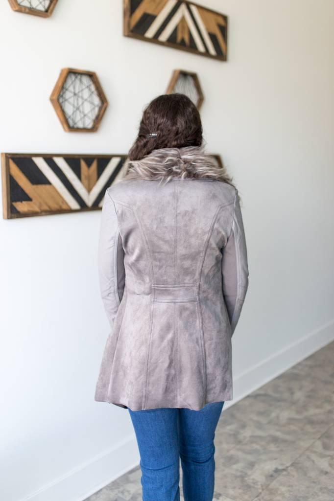Copper Faux Suede Jacket