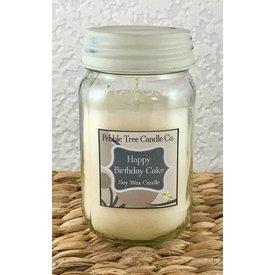 Pebble Tree Candle Co. Happy Birthday Cake Soy Wax Candle - 16oz Mason