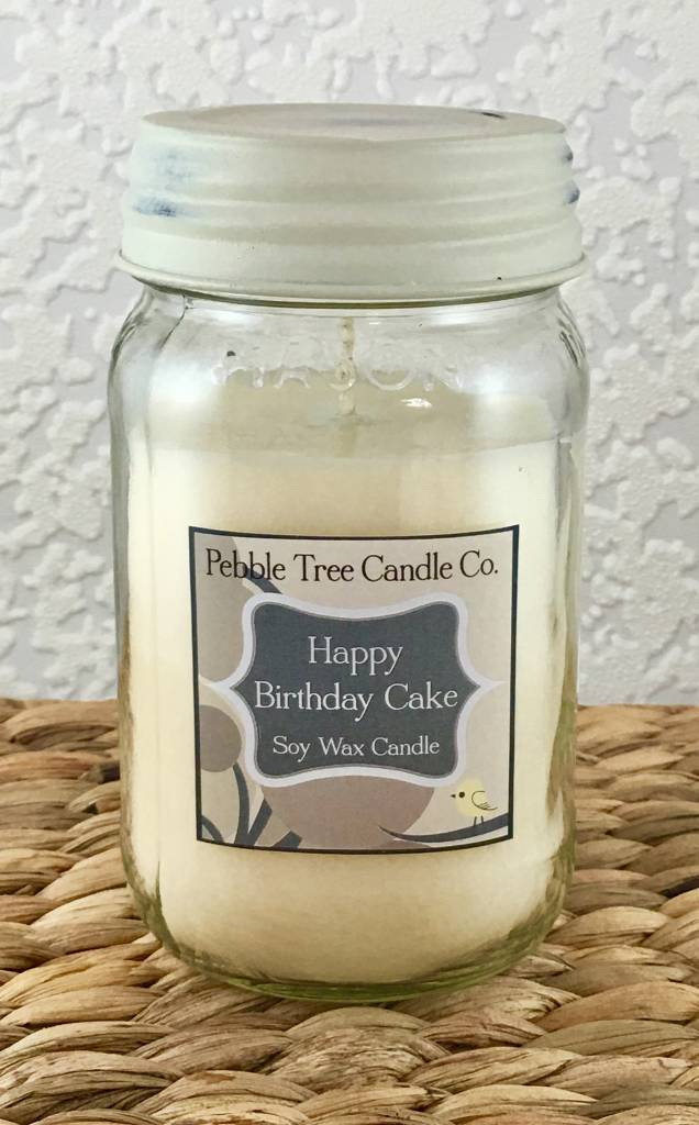 Pebble Tree Candle Co. Happy Birthday Cake Soy Wax Candle - 16oz Mason