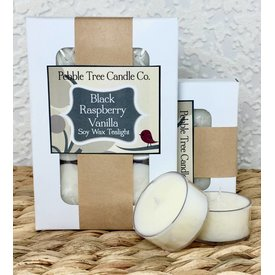 Pebble Tree Candle Co. Black Raspberry Vanilla - Soy Wax Tealight - Pack of 6