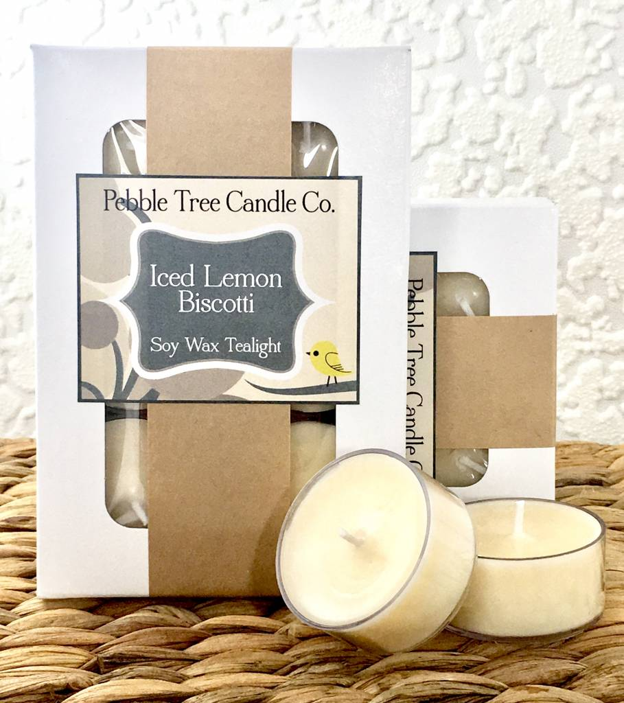 Pebble Tree Candle Co. Iced Lemon Biscotti - Soy Wax Tealight - Pack of 6