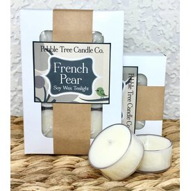 Pebble Tree Candle Co. French Pear - Soy Wax Tealight - Pack of 6