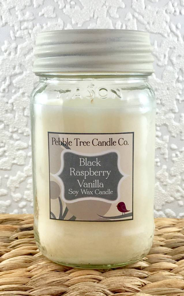 Pebble Tree Candle Co. Black Raspberry Vanilla - Soy Wax Candle - 16oz Mason
